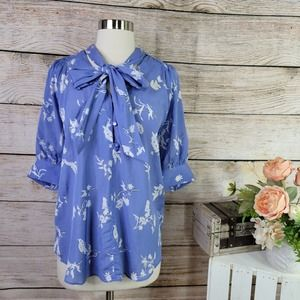 NWT Ann Taylor Button Down Floral Tie Neck Large